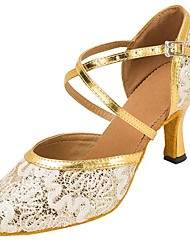 "cheap -Women's Modern Lace Paillette Sandal Heel Professional Laces Buckle Sequins Customized Heel Gold White 1"" - 1 3/4"" 2"" - 2 3/4"" 3"" - 3"