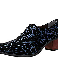 Men's Shoes Leather PU Spring Fall Novelty Formal Shoes Oxfords Lace-up For Party & Evening Black Green Blue