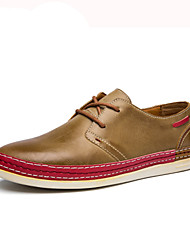 cheap -Men's Shoes PU Spring Fall Comfort Oxfords Lace-up for Casual Yellow Coffee Brown