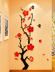 Floral/Botanical Romance Wall Stickers 3D Wall Stickers Crystal Wall Stickers Decorative Wall Stickers 3D,Acrylic Material Home Decoration