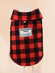 cheap -Dog Sweatshirt Dog Clothes Casual/Daily Plaid/Check Red Black/White Costume For Pets