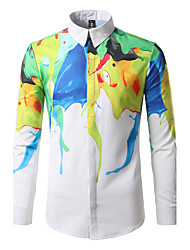Men Casual/Daily Boho Street chic All Seasons Shirt,Geometric Classic Collar Long Sleeve Cotton Polyester Medium