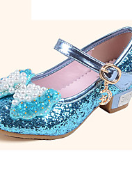 Girls' Flats Comfort Flower Girl Shoes Summer Fall Leatherette Casual Dress Sequin Buckle Flat Heel Gold Sliver Blue Blushing Pink Flat