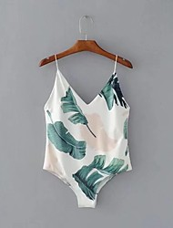 cheap -Women's Daily Going out Holiday Sexy Street chic Floral Print V Neck Bodysuit,Slim Sleeveless Spring Summer Cotton