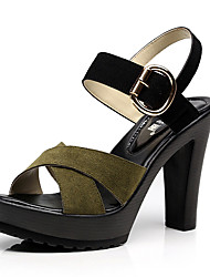 cheap -Women's Shoes Leather / Nubuck leather Spring / Summer Basic Pump Sandals Stiletto Heel Peep Toe Buckle for Outdoor Black / Brown / Green