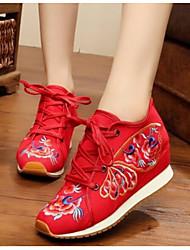 Women's Shoes Fabric Sneakers For Black Red Blue