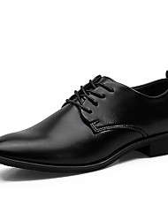 cheap -Men's Shoes Leather Spring Fall Comfort Formal Shoes Oxfords Lace-up For Wedding Casual Party & Evening Black