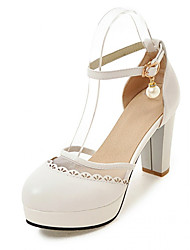 cheap -Women's Shoes Synthetic / PU(Polyurethane) Summer / Fall Comfort / Novelty Heels Walking Shoes Chunky Heel Round Toe Buckle White / Beige
