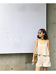 Women's Going out Simple Summer Blouse Pant Suits,Solid Strap Sleeveless