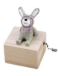 abordables -Boîte à musique Jouets Animaux Rabbit Carrousel Plastique Bois Adorable Pièces Unisexe Anniversaire Cadeau