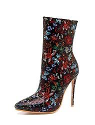 Feminino Sapatos Veludo Primavera Outono Botas da Moda Solados com Luzes Botas Dedo Apontado Botas Cano Médio Gliter com Brilho Para