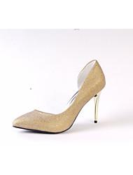 Women's Wedding Shoes Basic Pump Spring Fall Sparkling Glitter Wedding Dress Party & Evening Sparkling Glitter Stiletto Heel Gold 3in-3