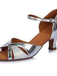 Damen Latin Paillette Leder Glanz Sandalen Absätze Professionell Verschlussschnalle Glitter Farbaufsatz Stöckelabsatz Silber 5 - 6,8 cm