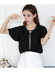 Women's Going out Simple Blouse,Solid Round Neck Half Sleeves Acrylic