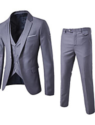 Men's Casual/Daily Work Simple Spring Summer Fall Suit,Solid Peaked Lapel Long Sleeve Regular Polyester