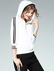 Women's Daily Running Active Fall Hoodie Pant Suits,Striped Text Hooded ¾ Sleeve Polyester Micro-elastic