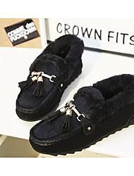 Women's Flats Comfort Basic Pump Fall Winter Wool Fabric PU Casual Black Ruby 4in-4 3/4in