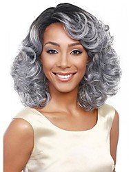 Fashion Grey Color Wave Africa American wigs Synthetic Ladys Full Wig