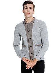 cheap -Men's Sports Going out Vintage Casual Street chic Regular Cardigan,Color Block Shirt Collar Long Sleeves Cotton Spring Fall Medium