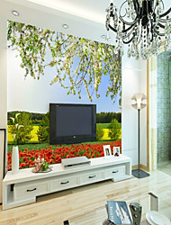 cheap -3D Flower/Floral Classic Home Decoration Pastoral Style Modern/Contemporary Wall Covering, Canvas Material Adhesive required Mural, Room