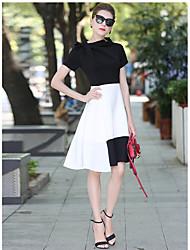 Tian haoxiang Women's Casual/Daily Sheath DressSolid Striped Shirt Collar Above Knee Long Sleeve Cotton Fall Mid Rise Micro-elastic Medium