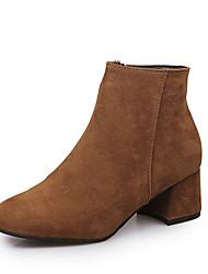 Feminino Sapatos Courino Outono Inverno Conforto Botas Salto Baixo Botas Curtas / Ankle Para Casual Preto Camel Amêndoa