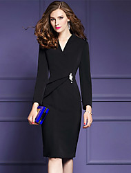 Women's Going out Plus Size Street chic Sophisticated Sheath Dress,Solid V Neck Knee-length Long Sleeves Polyester Fall Mid Rise