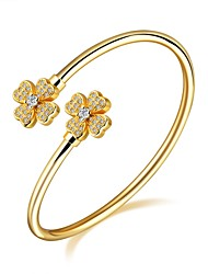 cheap -Women's Cubic Zirconia Zircon Gold Plated Rose Gold Plated Adorable Luxury Cuff Bracelet - Luxury Basic Fashion Four Leaf Clover Gold