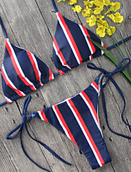 2017 Hot Sexy Bikini Sets Women's Bikini Plunging Neckline Stripe Print Swimming Suits