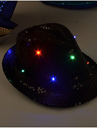 cheap -1PCS Unisex Caps Fashion LED Lighted Glow Club Party Black Fabric Travel Hat Baseball Cap Hip-Hop Adjustable Fabric Hat Glow Cap