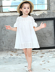 cheap -Girl's Polka Dot Dress,Cotton Summer Short Sleeve Ruffle White