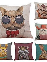 cheap -Set of 6 Retro Invention Pattern Linen Cushion Cover Home Office Sofa Square Pillow Case Decorative Cushion Covers Pillowcases (18*18Inch)