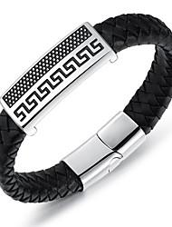 abordables -Homme Autres Bracelet - Personnalisé Fait à la Main Hip-Hop Forme de Cercle Forme Géométrique Noir Bracelet Pour Anniversaire Cadeau