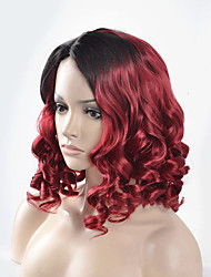 Medium Length Mixed Black To Red Hair High Temperature Heat Resistant Synthetic Wigs For Black Women
