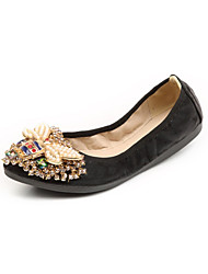 Women's Flats Comfort Novelty Spring Fall Leatherette Wedding Dress Party & Evening Crystal Flat Heel Chunky Heel Gold Black Sliver Flat