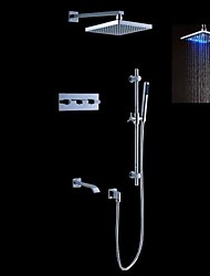 cheap -Contemporary Modern Style LED Wall Mounted Rain Shower Handshower Included Brass Valve Chrome, Shower Faucet