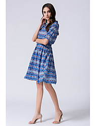 cheap -STEPHANIE Women's Daily Going out Cute Sheath Dress,Print Round Neck Knee-length Above Knee Short Sleeves Silk Cotton Summer Mid Rise Micro-elastic