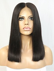 New Style Brazilian Virgin Human Hair Blunt Bob Lace Wig with Clear Middle Deep Parting