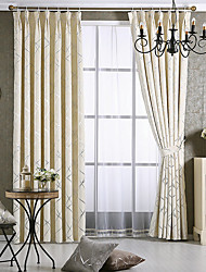 Rod Pocket Grommet Top Double Pleat Pencil Pleat Curtain Modern/Contemporary , Jacquard Striped Living Room Material Blackout Curtains