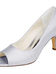 preiswerte -Damen Schuhe Stretch - Satin Frühling Sommer Pumps Hochzeit Schuhe Stöckelabsatz Peep Toe für Hochzeit Party & Festivität Schwarz Silber