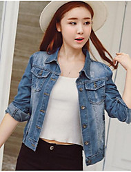 Women's Going out Simple Spring Denim Jacket,Solid Square Neck Long Sleeve Regular Cotton