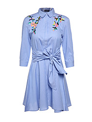cheap -Women's Chic & Modern Sheath Dress - Solid Colored Embroidered, Modern Style