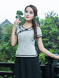 cheap -Women's Daily Chinoiserie T-shirt,Color Block Round Neck Short Sleeves Cotton Linen