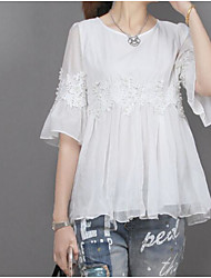 cheap -Women's Daily Casual Blouse,Solid Round Neck Half Sleeves Linen