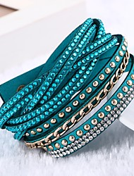 cheap -Women's Leather Bracelet Classic Multi Layer Handmade Leather Brown Red Green Pink Light Blue Circle Jewelry Wedding Daily Casual