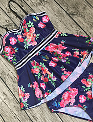 cheap -Women's Floral Ruffle Print Bandeau Tankini Swimwear Red