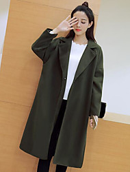 Women's Casual/Daily Simple Fall Coat,Solid Shirt Collar Long Sleeve Long Cotton Others