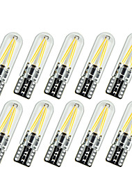 10pcs T10 Car Styling 170LM LED Glass Cover COB Filament Car Interior Light W5W Car Reading Light Source DC12-24V