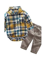 preiswerte -Jungen Kleidungs Set Verziert Baumwolle Frühling Herbst Langarm Kariert Rote Gelb