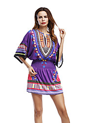 Women's Casual/Daily Tunic Dress,Print V Neck Mini Half Sleeve Polyester Summer Mid Rise Micro-elastic Medium